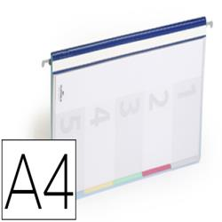 Carpeta dossier fastener plastico duraclip din a4 con 5 separadores e indice lomo color azul pack de 5 unidades