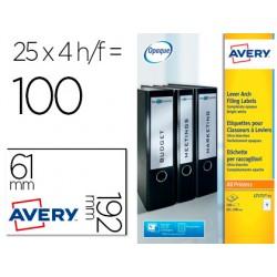 Etiqueta adhesiva avery permanente blanca 61x192 mm para lomo archivador laser caja de 100 unidades