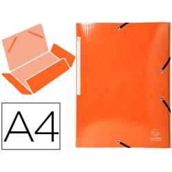Carpeta exacompta iderama gomas carton laminado 425 gr tres solapas din a4 naranja