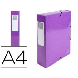 Carpeta de proyecto exacompta iderama carton lustrado plastificado din a4 lomo 80 mm violeta