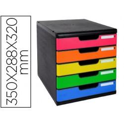 Fichero cajones sobremesa exacompta iderama arlequin 5 cajones multicolores 350x288x320 mm