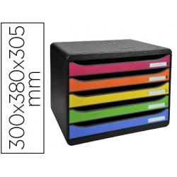 Fichero cajones sobremesa exacompta big-box plus apaisada iderama arlequin 5 cajones multicolores