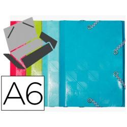 Carpeta exacompta gomas carton 600 gr tres solapas din a6 colores surtidos