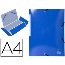Carpeta exacompta iderama gomas carton laminado 425 gr tres solapas din a4 azul oscuro