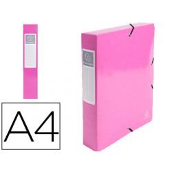 Carpeta de proyecto exacompta iderama carton lustrado plastificado din a4 lomo 60 mm rosa