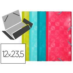 Carpeta exacompta gomas carton 600 gr tres solapas 12x23,5 cm colores surtidos