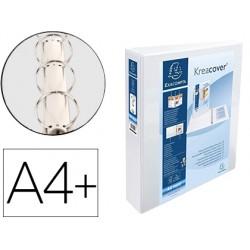 Carpeta exacompta canguro 4 anillas 40 mm din a4+ carton forrado polipropileno personalizable 3 bolsillos