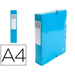 Carpeta de proyecto exacompta iderama carton lustrado plastificado din a4 lomo 60 mm azul claro