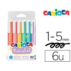 Rotulador carioca fluorescente pastel blister de 6 colores surtidos