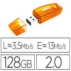 Memoria usb emtec flash c410 128 gb 2.0 naranja