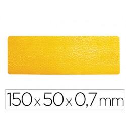 Simbolo adhesivo durable pvc forma de linea para delimitacion suelo amarillo 150x50x0,7 mm pack de 10