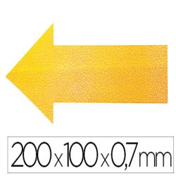 Simbolo adhesivo durable pvc forma de flecha para delimitacion suelo amarillo 200x100x0,7 mm pack de 10
