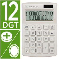 Calculadora citizen sobremesa sdc-812nrwhe eco eficiente solar y a pilas 12 digitos 124x102x25 mm blanco
