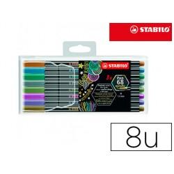 Rotulador stabilo punta de fibra pen 68 metallic estuche plastico de 8 unidades colores surtidos