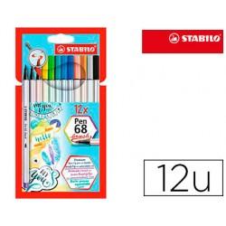 Rotulador stabilo acuarelable pen 68 brush punta pincel estuche de 12 unidades colores surtidos