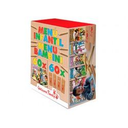 Kit para colorear welcome family con 60 cuadernos para colorear y 60 cajas de 4 lapices de colores surtidos