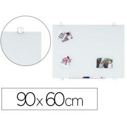Pizarra blanca q-connect cristal magnetica marco aluminio 90x60 cm