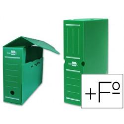Caja archivo definitivo plastico liderpapel verde tamaño 387x275x105 mm