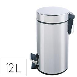 Papelera metalica q-connect con pedal cromada 25x38cm capacidad 12 litros