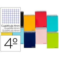 Cuaderno espiral liderpapel cuarto apaisado smart tapa blanda 80h 60gr cuadro 4mm conmargen colores surtidos