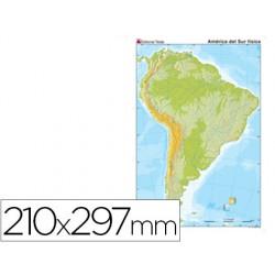 Mapa mudo color din a4 america sur fisico