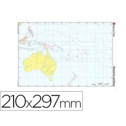Mapa mudo color din a4 oceania -politico