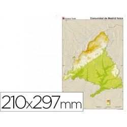Mapa mudo color din a4 madrid fisico