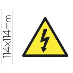Etiqueta adhesiva apli de señalizacion simbolo alta tension 114x114 mm