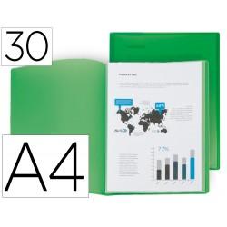 Carpeta liderpapel escaparate 30 fundas polipropileno din a4 verde translucido