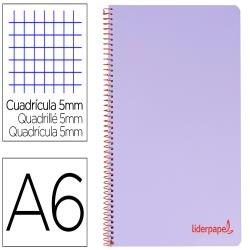 Cuaderno espiral liderpapel a6 micro wonder tapa plastico 120h 90 gr cuadro 5mm 4 bandas color violeta