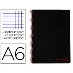 Cuaderno espiral liderpapel a6 micro wonder tapa plastico 120h 90 gr cuadro 5mm 4 bandas color negro