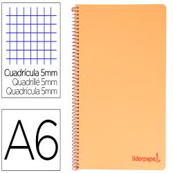 Cuaderno espiral liderpapel a6 micro wonder tapa plastico 120h 90 gr cuadro 5mm 4 bandas color naranja