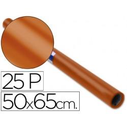 Papel charol rollo marron -25 hojas de 50x65 cm