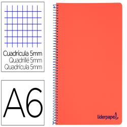 Cuaderno espiral liderpapel a6 micro wonder tapa plastico 120h 90 gr cuadro 5mm 4 bandas color rojo