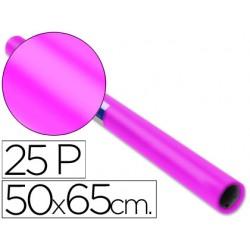 Papel charol rollo rosa fuerte -25 hojas de 50x65 cm