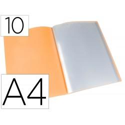 Carpeta liderpapel escaparate 10 fundas polipropileno din a4 naranja fluor opaco