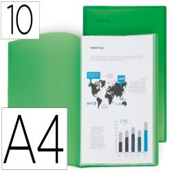 Carpeta liderpapel escaparate 10 fundas polipropileno din a4 verde translucido