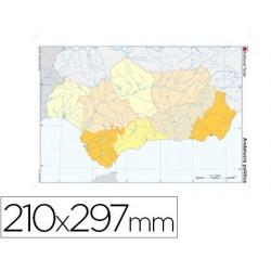 Mapa mudo color din a4 andalucia politico