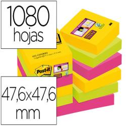 Bloc de notas adhesivas quita y pon post-it super sticky 47,6x47,6 mm con 90 hojas pack de 12 bloc colores