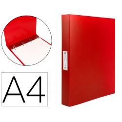 Carpeta liderpapel 4 anillas 25 mm mixtas polipropileno din a4 rojo translucido