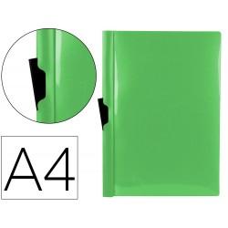 Carpeta liderpapel dossier pinza lateral polipropileno din a4 verde manzana opaco 30 hojas pinza deslizante