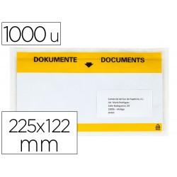 Sobre autoadhesivo q-connect portadocumentos multilingue 225x122 mm ventana totalmente transparente paquete de 1000
