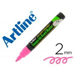 Rotulador artline pizarra epd-4 color rosa fluorescente opaque ink board punta redonda 2 mm