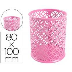 Cubilete portalapices q-connect metal redondo rosa diametro 80 altura 100 mm