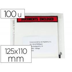 Sobre autoadhesivo q-connect portadocumentos multilingue 125x110 mm sin ventana paquete de 100 unidades