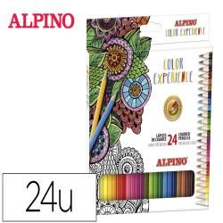 Lapices de colores alpino experience acuarelable mina premium 3,3 mm caja metalica de 24 unidades colores