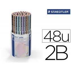 Lapices de grafito staedtler 119 triplus 2b color pastel bote de 48 unidades colores surtidos