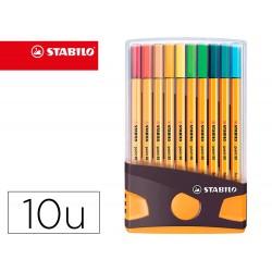 Rotulador stabilo punta de fibra point 88 color parade antracita/naranja estuche de 20 unidades colores surtidos