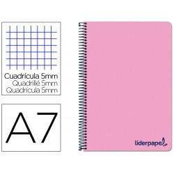 Cuaderno espiral liderpapel a7 micro wonder tapa plastico 100h 90 gr cuadro 5mm 4 bandas color rosa