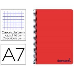 Cuaderno espiral liderpapel a7 micro wonder tapa plastico 100h 90 gr cuadro 5mm 4 bandas color rojo